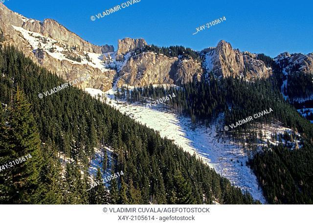 View of rock formation Skalne vrata in Belianske Tatry, High Tatras