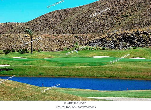 View of part of the golf course and lake, Mojacar, Almeria Province, Andalusia, Spain, Western Europe