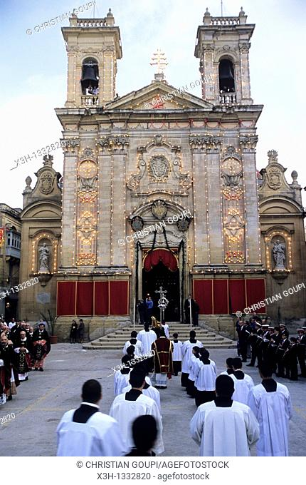 religious procession to the St George's Basilica, Victoria, Gozo, Malta, Mediterranean Sea, Europe