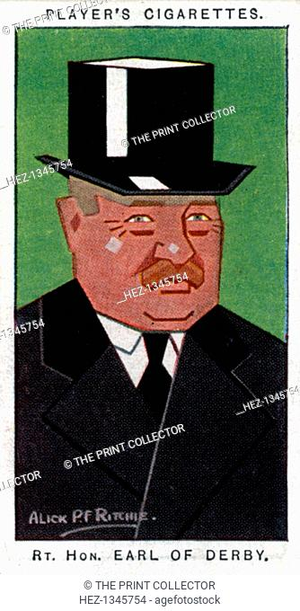 Edward George Villiers Stanley, 17th Earl of Derby, 1926. Cigarette card with straight-line caricature, issued by John Player & Sons