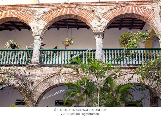 La Popa Museum and its balconies in the ancient walled city of Cartagena of the Indies. Historical patrimony of the humanity of the UNESCO
