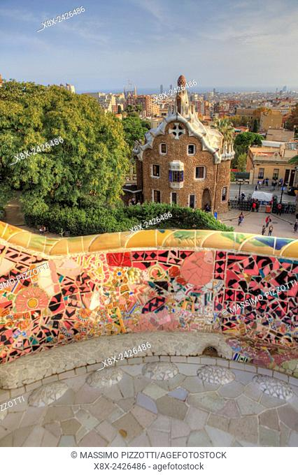 Terrace of Park Güell, Barcelona, Spain