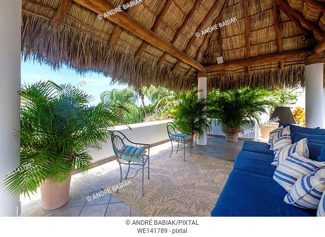 Upscale Mexican Residence - Terrace with palapa, Punta de Mita, Riviera Nayarit, Mexico