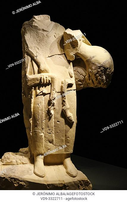 Diosa de los Carneros. Iberian sculpture Goddess of Rams, Cerrillo Blanco archaeological site at Porcuna. The Iberian Museum. Jaén, southern Andalusia