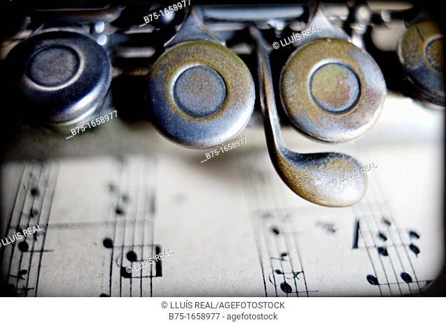 Music, musical instrument, flute, score