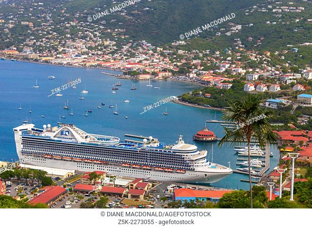 A cruise ship in port at Charlotte Amalie, St. Thomas, US Virgin Islands viewed from Paradise Point