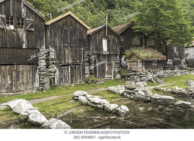 old sheds of village Geiranger, Norway