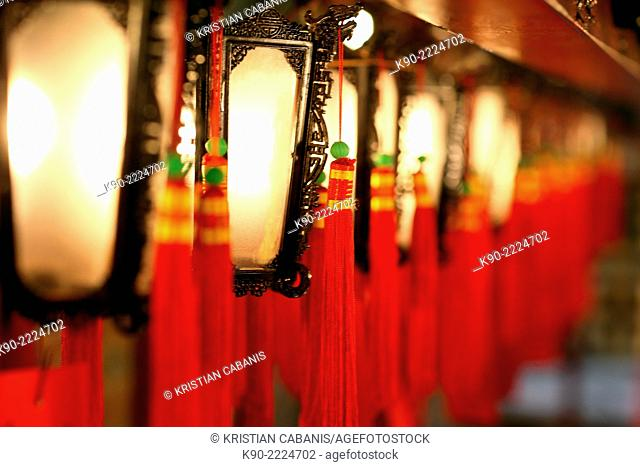 Traditional lamps at Man Mo temple in Sheung Wan, Hong Kong, China, East Asia