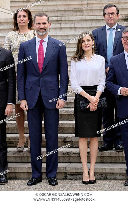 King Felipe VI and Queen Letizia of Spain attend the opening of 'Escripta. Tesoros Manuscritos de la Universidad de Salamanca' exhibition at the National...