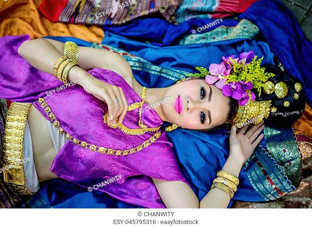Thailand Lanna women dress .Thai woman dressing traditional. Wearing on important Day, New Year's Day/ Culture traditional Day