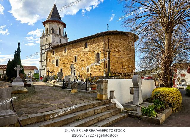 Cemetery and church, Funerary stele, L'église Notre Dame de l'Assomption, Ainhoa, Pyrénées-Atlantiques, Aquitaine region, France, Europe