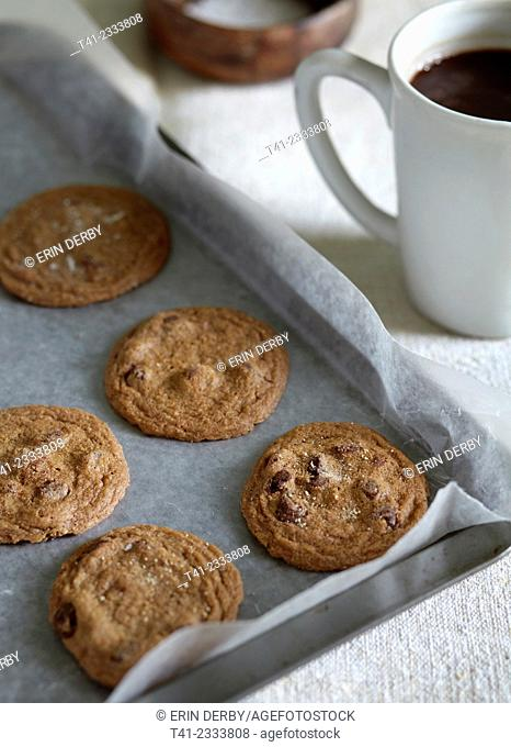 A tray of fresh baked cookies