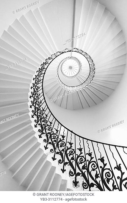 The Tulip Stairs At The Queens House, Royal Museums, Greenwich, London, United Kingdom
