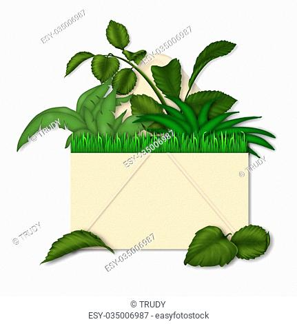 ILLUSTRATION/CONCEPT OF ENVELOPE FILLED WITH PLANT LIFE - SAVING EARTH BY USING RECYCLED PRODUCTS OR PAYING BILLS ON LINE INSTEAD OF USING PAPER PRODUCTS