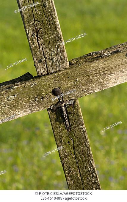 An old wooden cross in the Podlasie region. Poland