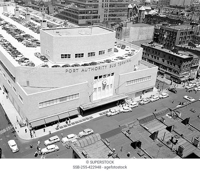 USA, New York State, New York City, View of Port Authority Bus Terminal showing parked cars on roof