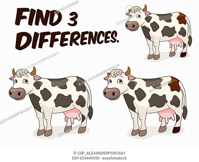 Find differences game cow vector illustration