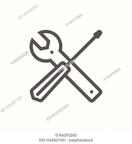 Screw driver and wrench tools icon thin line for web and mobile, modern minimalistic flat design. Vector dark grey icon on light grey background