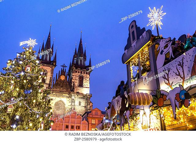 Old Town Square, Christmas market and tree, Prague, Czech Republic