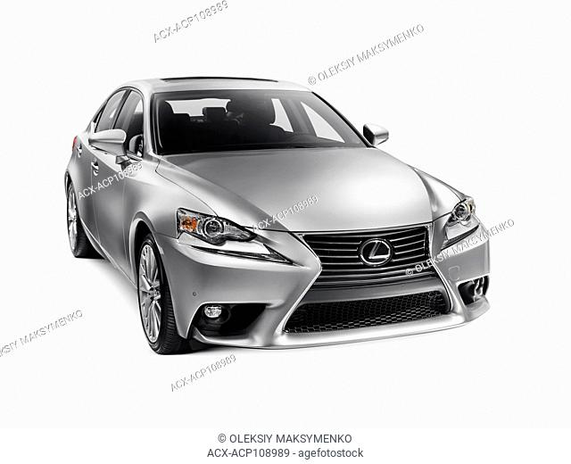 Silver 2016 Lexus IS 300 AWD small luxury sedan isolated car on white background with clipping path