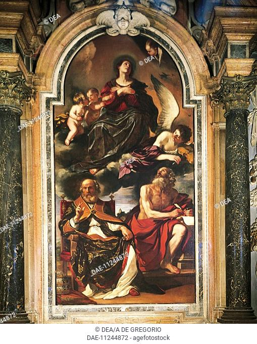 Mary assumption with St Peter and St Jerome, by Giovanni Francesco Barbieri, known as Guercino (1591-1666), oil on canvas