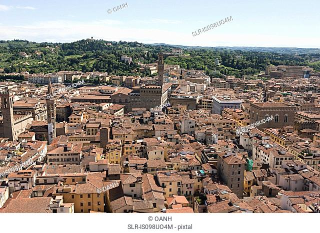 Aerial view of old town, Florence, Italy