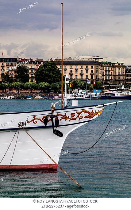 Bow of an anchored Swiss lake steamer in Geneva