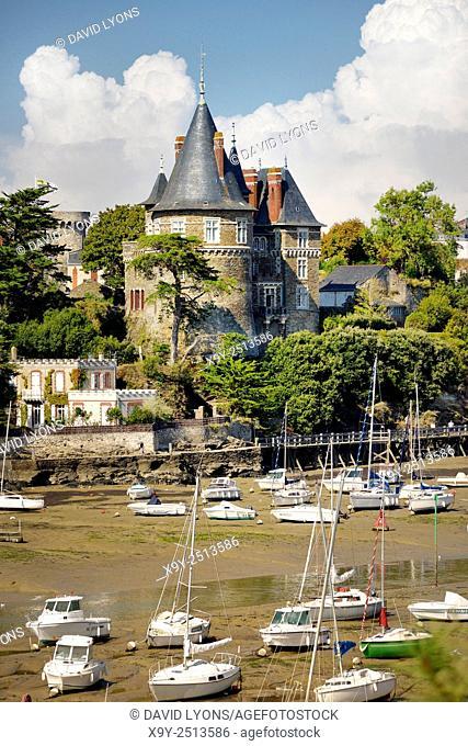 Chateau de Pornic restored mediaeval castle once property of Gilles de Rais. Port of Pornic, Brittany, France. Bluebeards Castle
