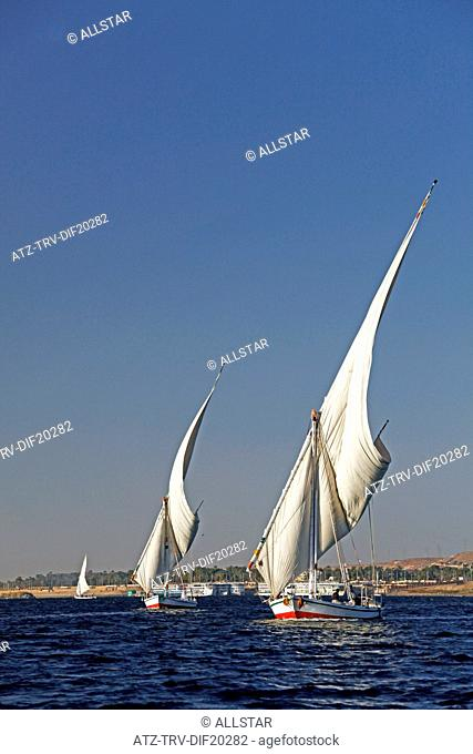 EGYPTIAN SAILING FELUCCAS; RIVER NILE, ASWAN, EGYPT; 10/01/2013