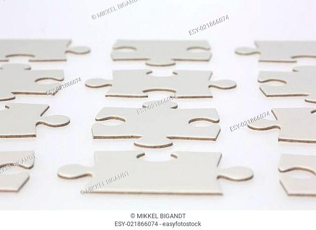 Rows of Jigsaw Puzzle Pieces