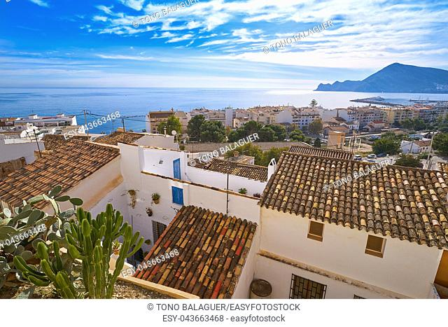 Altea white village skyline in Alicante at Mediterranean Spain