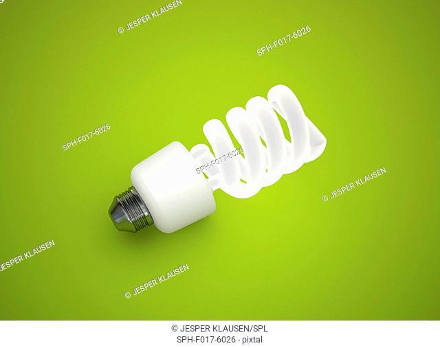 Energy saving lightbulb against a green background