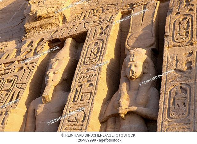 Statue at Front of Small Hathor Temple of Nefertari, Abu Simbel, Egypt