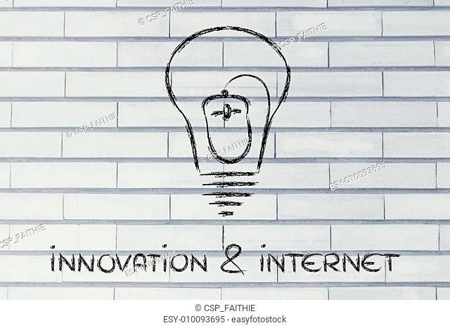 computer mouse inside lightbulb, concept of innovation