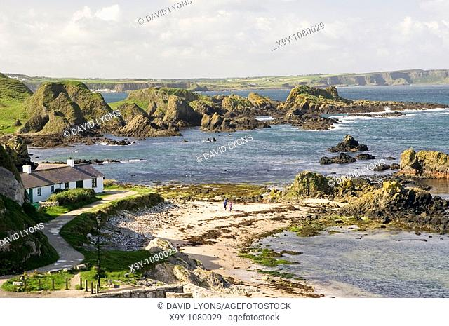 The beach at Ballintoy Harbour at White Park Bay between Bushmills and Ballycastle on County Antrim coast road, Northern Ireland