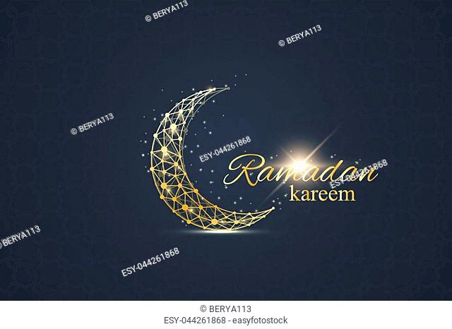 Ramadan greetings background. Luxury gold solutions design. Golden moon made from connected line and dots. Ramadan kareem greeting. Black background