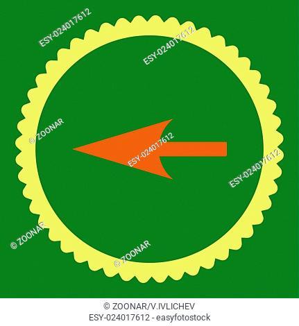 Sharp Left Arrow flat orange and yellow colors round stamp icon