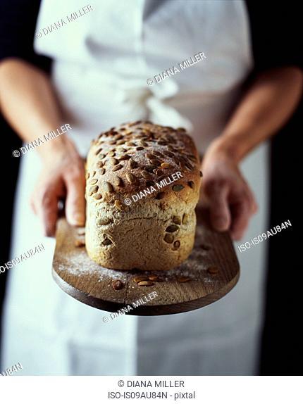 Hands of female baker holding fresh from oven seeded organic bread on breadboard