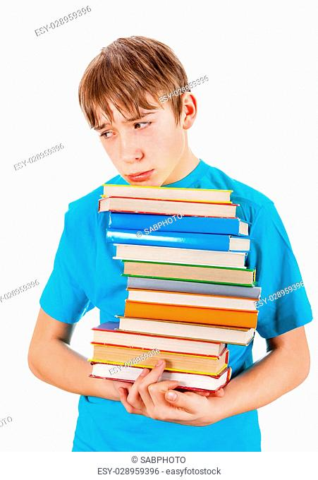 Sad Teenager with the Books Isolated on the White Background