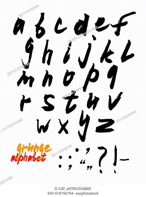 Grunge handwritten alphabet set (ve