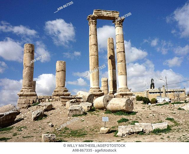 Ruins of the Citadel. Jebel lal-Qalaa, Qala hill, Coernthic columns of the roman Hercules temple at Citadel Hill in the capital city of the Hashemite Kingdom of...