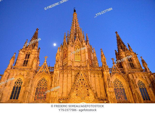 the Cathedral of Santa Eulalia in Barcelona's Barri Gotic district, Catalonia, Spain