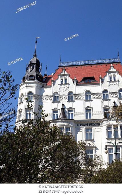 U Prvni Reduty building, an art nouveau building dating to 1905-1906, Josefov, the Jewish Quarter, Prague, Czech Republic