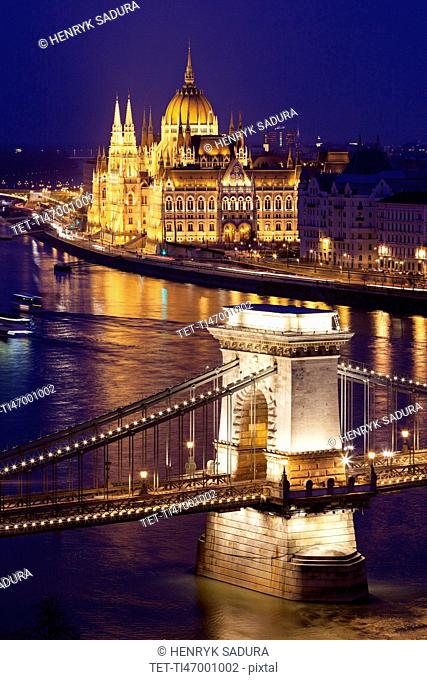 Illuminated Chain Bridge and Hungarian Parliament Building