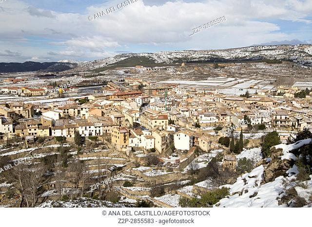 Beautiful winter mountains landscape Gudar sierra Teruel Aragon Rubielos de Mora village one of the most beautiful villages in Spain