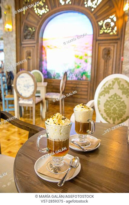 Two glasses of Irish coffee in a traditional cafe. Madrid, Spain
