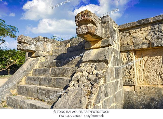 Chichen Itza snake head at Yucatan Mexico