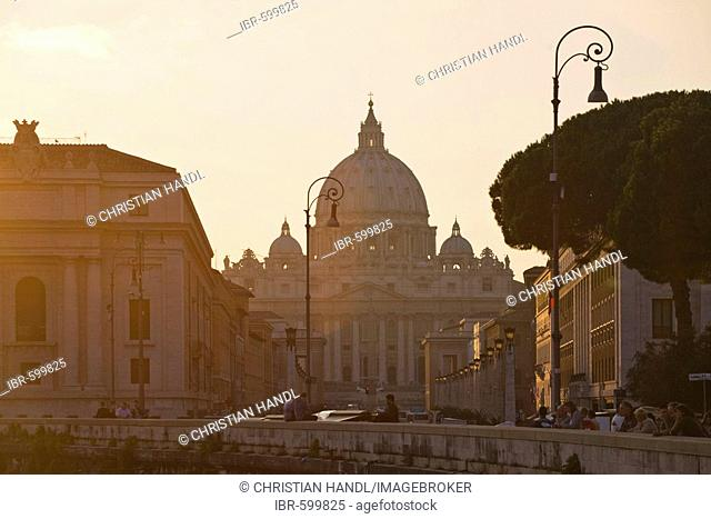 St. Peter's Basilica seen from Ponte Sant' Angelo bridge at sunset, Rome, Italy, Europe