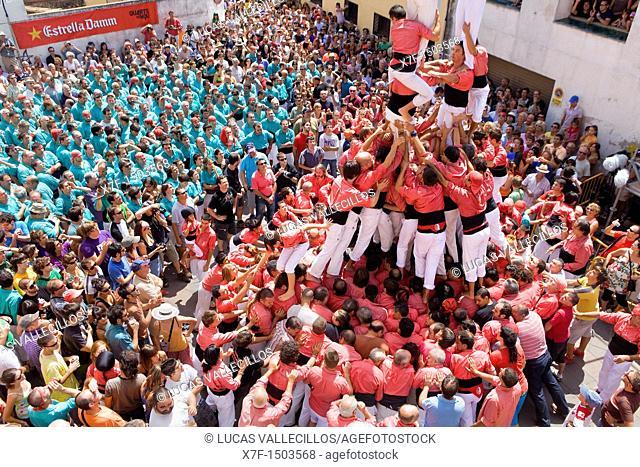 Castellers de Vilafranca and Colla Vella dels Xiquets de Valls building human tower. 'Castellers' are a Catalan tradition