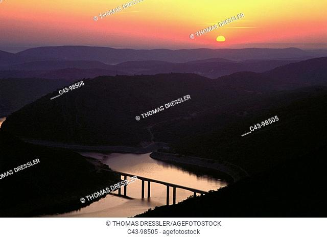 New bridge over Tagus river, Monfragüe Natural Park. Caceres province, Extremadura, Spain